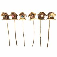 "12""H Mushroom Birdhouse On A Stick (Sold By Pack Of 12) - Assorted Colors"
