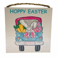 "10"" X 10"" MDF ""Hoppy Easter"" Sign w/ Rope"