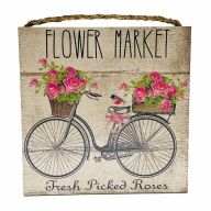 "10"" X 10"" MDF ""Flower Market"" Sign w/ Rope"
