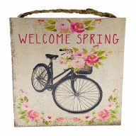 "10"" X 10"" MDF ""Welcome Spring"" Sign w/ Rope"