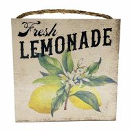 "10"" X 10"" MDF ""Fresh Lemonade"" Sign w/ Rope"