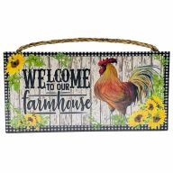 "6"" X 12"" MDF ""Welcome To Our Farmhouse"" Sign w/ Rope"