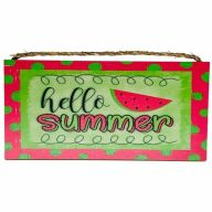 "6"" X 12"" MDF ""Hello Summertime"" Watermelon Sign w/ Rope"