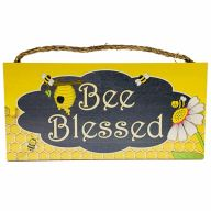 "6"" X 12"" MDF ""Bee Blessed"" Sign w/ Rope"