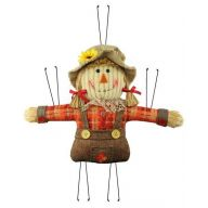 "13""L X 10""H Mini Scarecrow Girl - Burgundy / Orange / Natural"