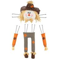 "4 Piece 29.5""H Scarecrow Decor Kit - Brown Herringbone / Orange"