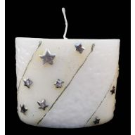 """4 """" X 5 """" Oval Star Candle - White / Silver"""