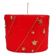 """4 """" X 5 """" Oval Star Candle - Red / Gold"""