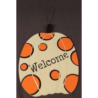 """12 """" Pumpkin Plaque w / Dots"""