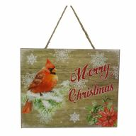 """8"""" X 9.75"""" X 0.75"""" Wooden """"Merry Christmas"""" Wall Sign w/ Red Bird"""