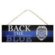 "15 "" x 5 "" H Back The Blue Police Sign - Black / Blue / White"