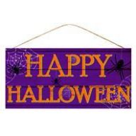 "12.5 "" Lx6 "" MDF Happy Halloween - Purple / Orange"