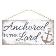 "12.5 "" L x 6 "" MDF Anchored in the Lord - White / Blue / Grey"