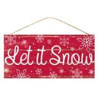 "12.5 "" L x 6 "" MDF  Let It Snow - Red / White"