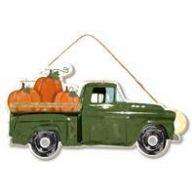 """10.25 """" L x 5 """" H MDF Truck w / Pumpkins - Green / Orange"""