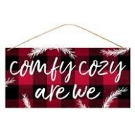 """12.5 """" L X 6 """" H MDF Comfy Cozy Are We - Red / Black / White"""
