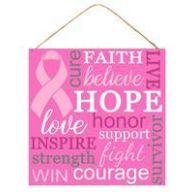 "10 "" sq MDF Breast Cancer - Pink / White / Grey"