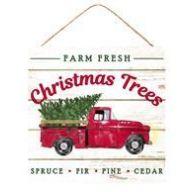 """10 """" sq Farm Fresh Christmas Trees - White / Red / Green"""