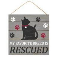 "10 "" SQ My Favorite Breed Is Rescued - Gray / Black / White / Burgundy"