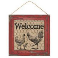 "10"" SQ Welcome Sign w/ Rooster and Chicken - Farmhouse Red / Natural (AP8382-RC)"