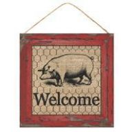 "10"" SQ Welcome Sign w/ Pig - Farmhouse Red / Natural (AP8382-P)"