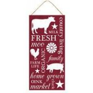 "12.5 "" L x 6 "" H Farm Collage Sign - Barn Red / White"