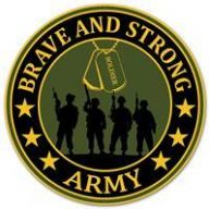 "12"" DIA Brave And Strong Army - Army Green / Navy / Gold"