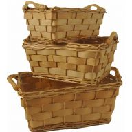 S / 3 Rectangle Wood Tray W/ Liners - Natural