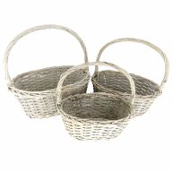 S/3 OVAL WILLOW W/HARD LINER L-16.25X11.75X6.75,  S-11.25X8.25X5.25 - GREYWASH