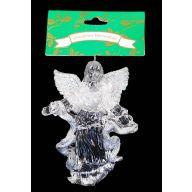 """4 """" Crystal Angel Ornament W / Glitter"""