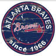 "12 "" MLB Wooden Circle Sign - Braves"