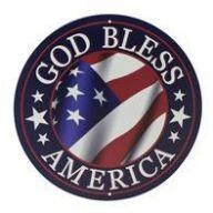 """12 """" Dia God Bless America Sign - Red / White / Blue"""