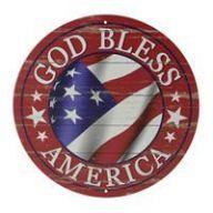 "12 "" Dia God Bless America Sign - Antique Red / White / Blue"