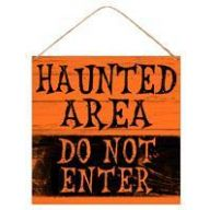 "12 "" Square Tin Haunted Area Do Not Enter Sign"