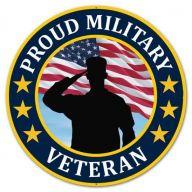 "12 "" DIA Metal Proud Military Veteran - Red / White / Blue / Yellow / Black"