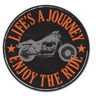 """12 """" DIA Metal Motorcycle Sign - Black / Orange / Gray"""