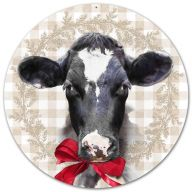 "12 "" DIA Metal Bessie The Cow w / Bow - White / Black / Tan / Red"