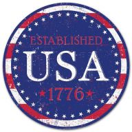 "12"" Round Metal ""ESTABLISHED USA 1776"" Sign"