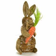 Rattan / Burlap Rabbit w/ Carrot