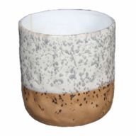 """7.25"""" X 7.25"""" X 6.75"""" Two-Tone Stoneware Container (Sold By Case Of 6 Only) (50342)"""