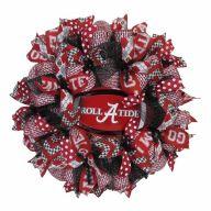 """24"""" Premade Alabama Collegiate Wreath - Crimson, Black, White"""
