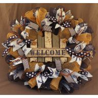 "24 "" Premade Mesh White Grey Welcome Sign / Anchor Wreath - Natural / Navy / Denim"