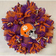 "24"" Premade Collegiate Mesh Wreath - Clemson Helmet"
