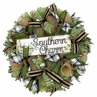 "24 "" Premade ""Southern Charm"" Mesh Wreath - Natural Moss"