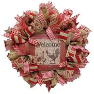"""24 """" Premade Rooster """"Farm Fresh"""" Mesh Wreath - Red Natural"""