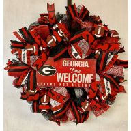 "24"" Premade Collegiate Mesh Wreath - ""Georgia Fans Welcome - Others Not Allowed"""