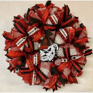"24"" Premade Collegiate Mesh Wreath - Georgia Dog"