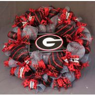 "24 "" Premade Red Black & Silver Georgia Mesh Wreath w / Black Ga Car Tag"