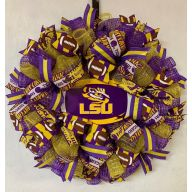 "24"" Premade Collegiate Mesh Wreath - Louisiana Football"