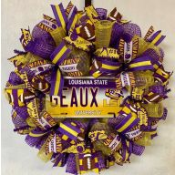 "24"" Premade Collegiate Mesh Wreath - Louisiana Car Tag"